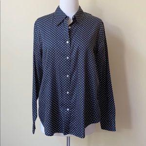 Ralph Lauren Navy Blue Polka Dot Button Down Shirt